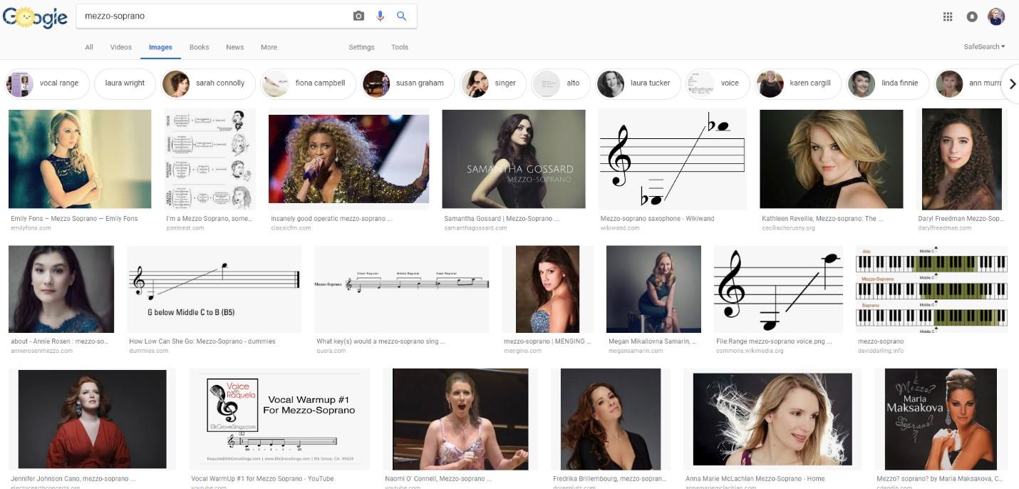 "A screenshot of a Google Image search on ""mezzo-soprano"""