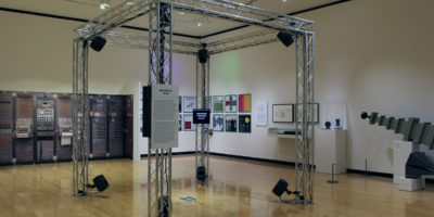 Ambisonic cube, an 8-channel loudspeaker system that creates the effect of 360-degree sound.