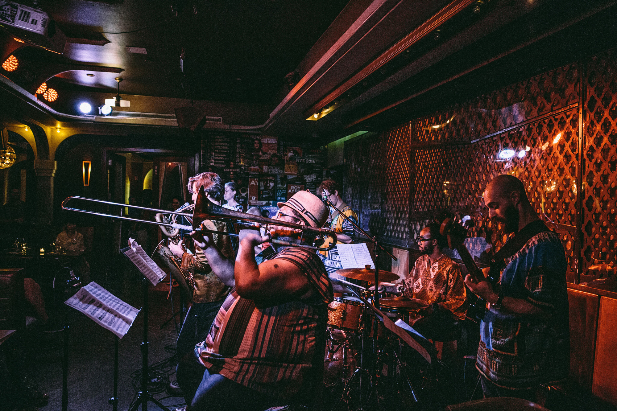 Afro Yaqui Music Collective performing at a club