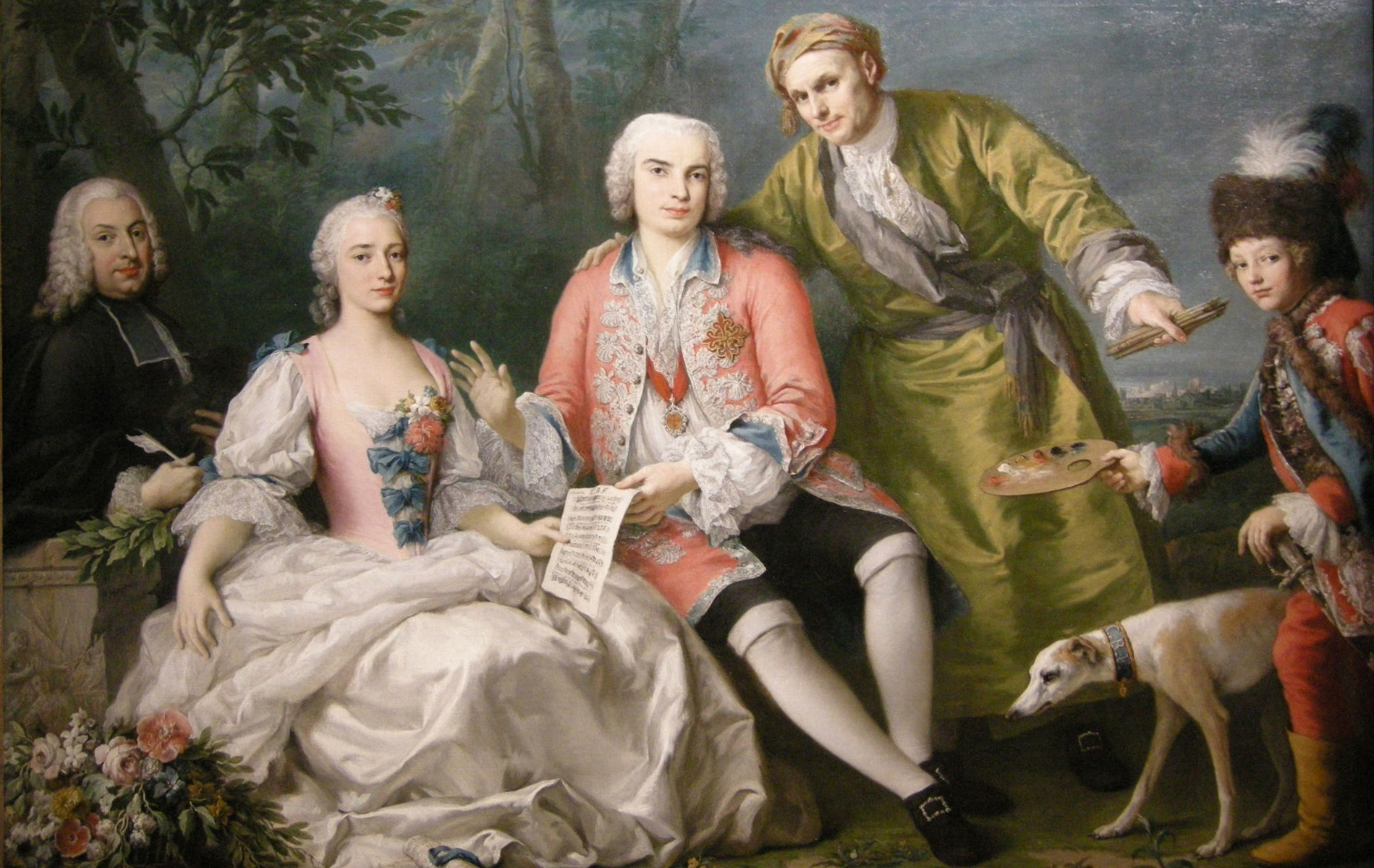 18th century style painting of a group of white men