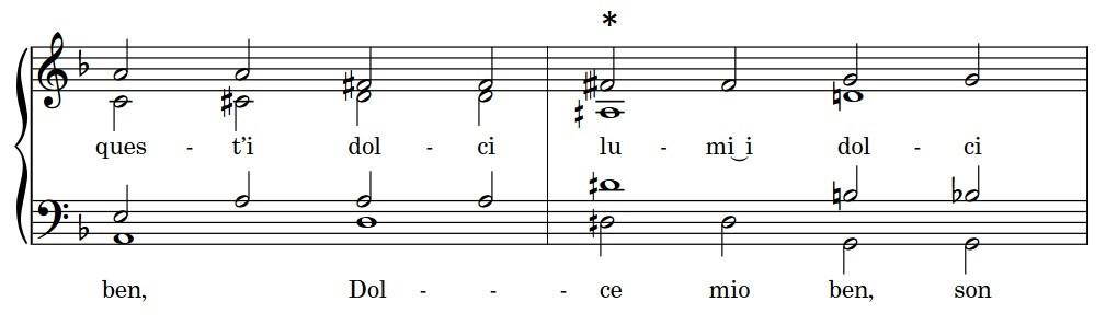 "Score excerpt of Nicolà Vicentino's ""Dolce mio ben"" showing microtonal intervals."