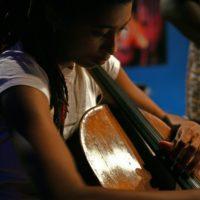 Tomeka Reid playing the cello