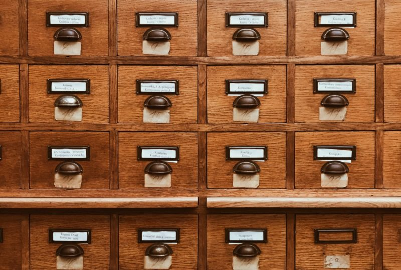 A photo of an old card catalog from a library