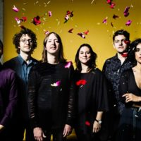 6 people in dark clothes posing in front of a yellow background with red petals in sky
