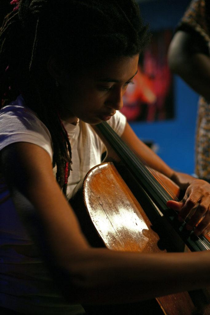 Tomeka Reid playing the cello (photo by Joel Wanek)